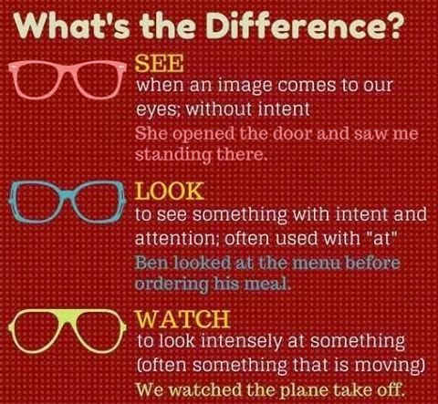 The Difference between LOOK, SEE and WATCH | Teaching E.S ...