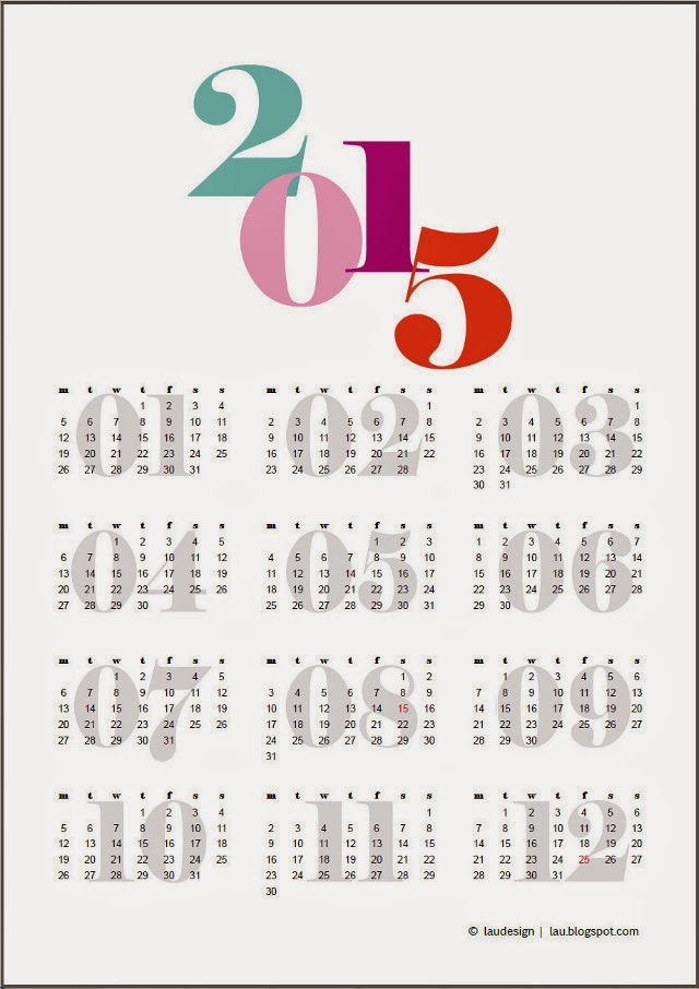 2015 free printable Calendar by laudesign