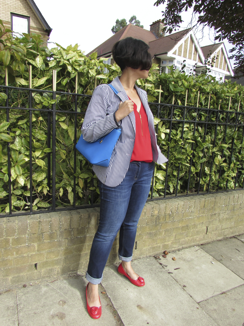 Jeans, red top and blazer