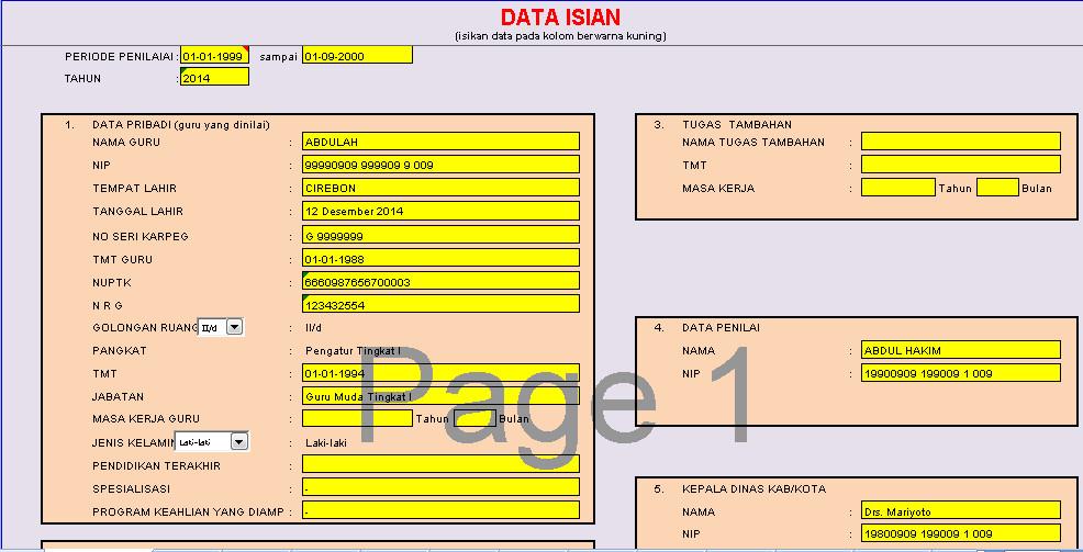 Aplikasi Penilaian Kinerja (PK) Golongan 2-D Berbasis Otomatis dengan Excel (xls) Download Gratis