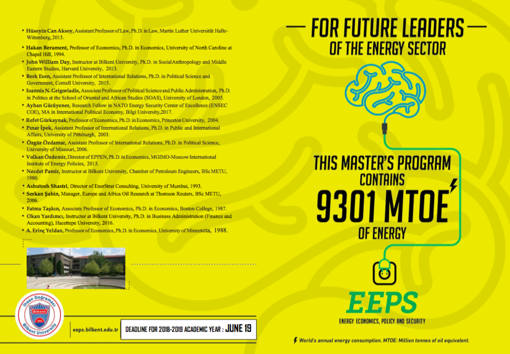 Applications for EEPS Master Program for 2018-2019 Academic Year is Now Open