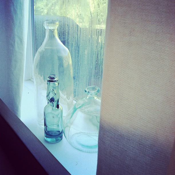 aqua sea-green glass bottles