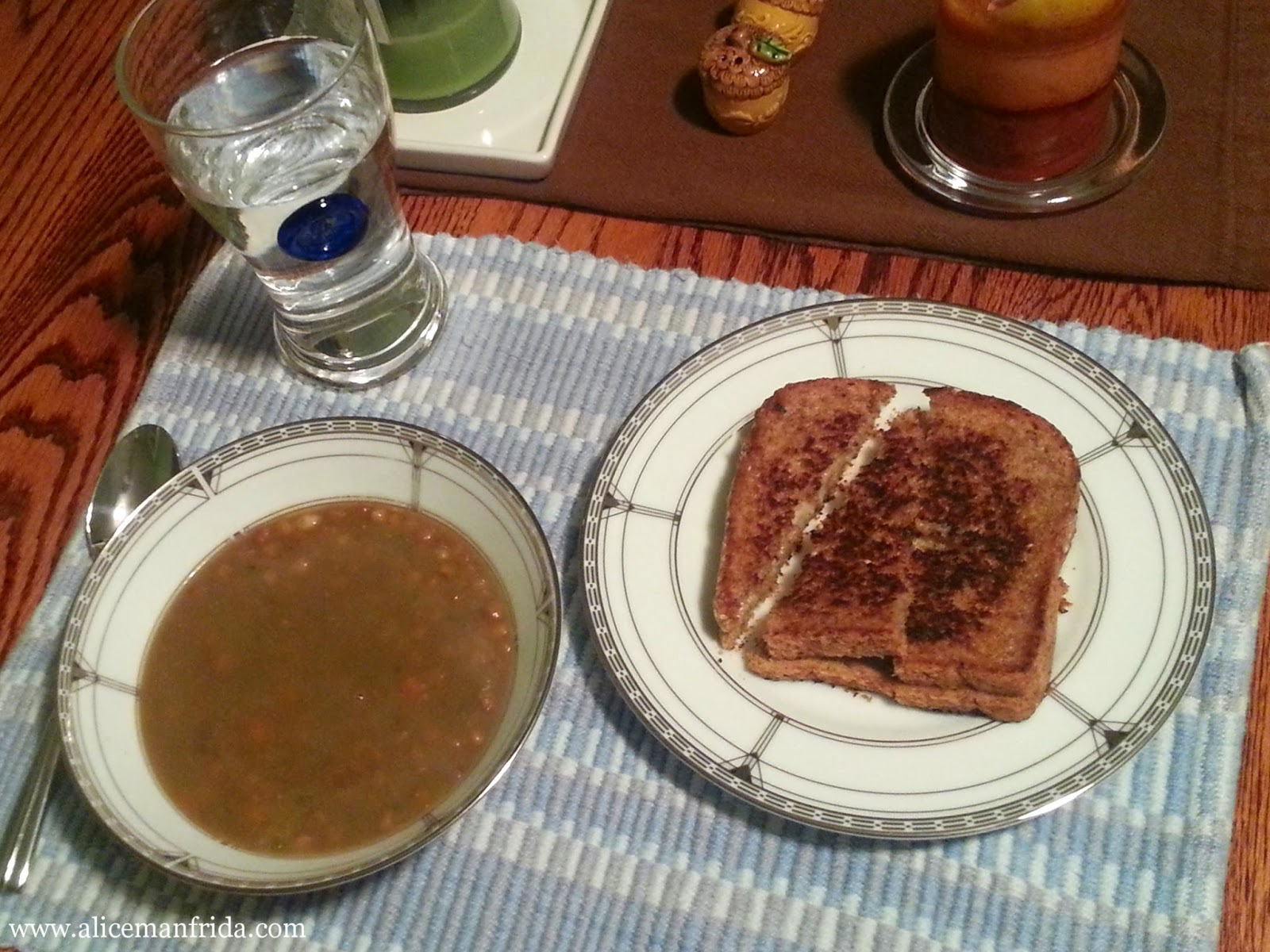 grilled cheese, lentil soup, dinner