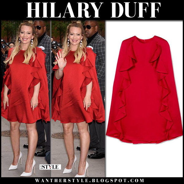 Hilary Duff in red ruffled mini dress valentino red carpet style june 5