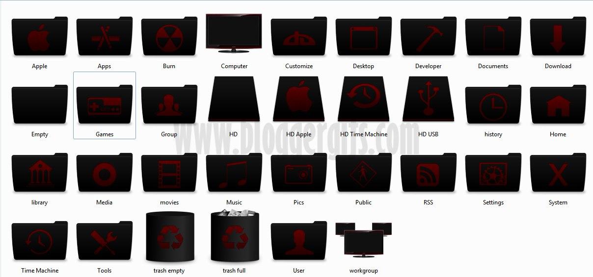 Iconos de Folders Negros Elegantes