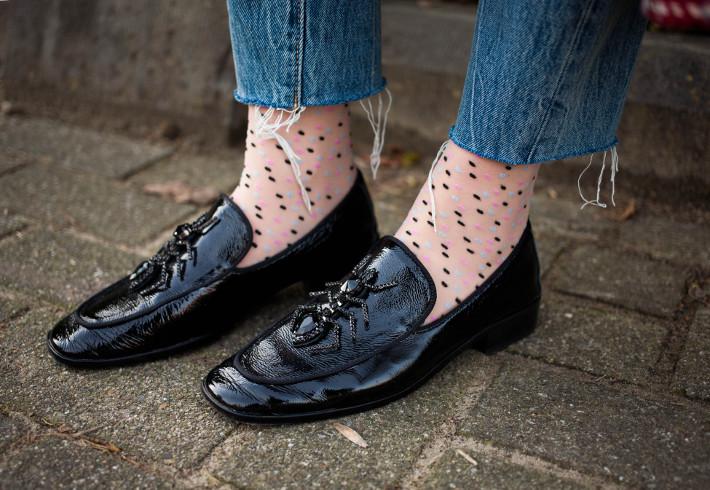 polkadot socks in loafers with raw hem denim
