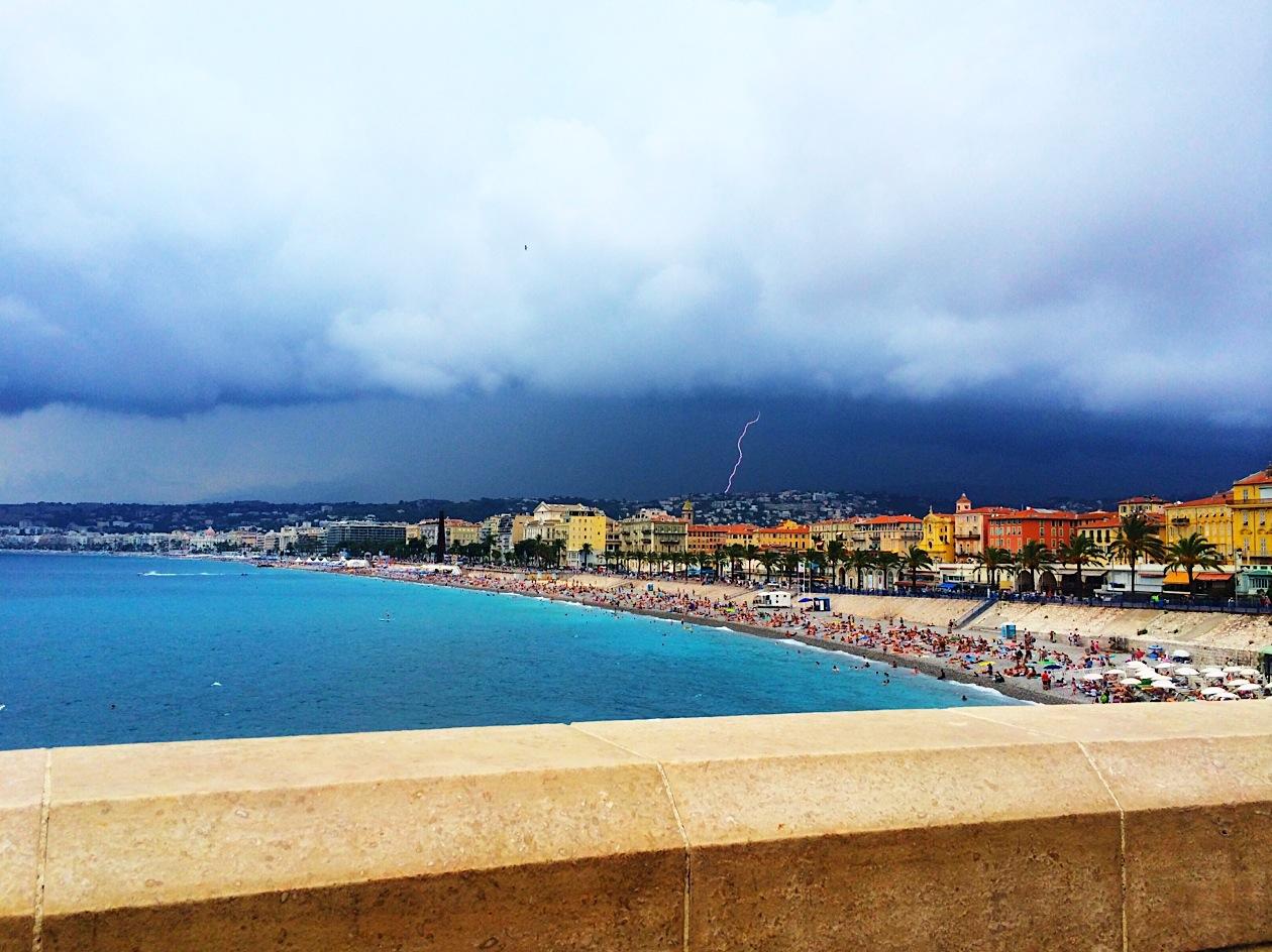 dark skies and lightning over nice