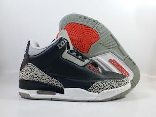 Jordan 3 Black Cement Grey  Jual Sepatu Basket Replika Import Premium