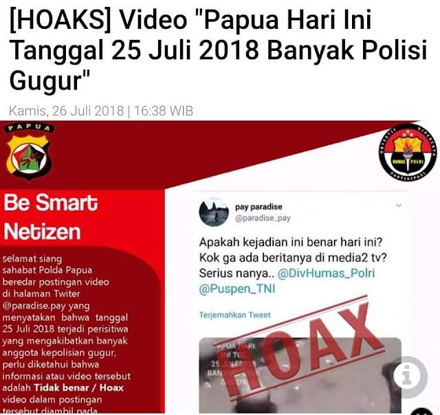 Banyak Postingan Berita Polisi Gugur Di Papua Itu Adalah HOAX Selalu Berhati Hati Dengan Postingan Di Medsos