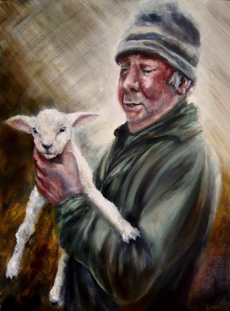 Oil painting of a shepherd and his lamb