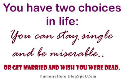 Funny Quote Stay Single And Be Miserable Or Get Married Humorous