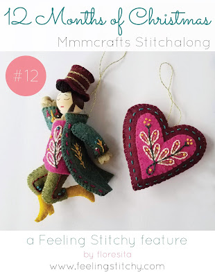 12 Months of Christmas Stitchalong 12 Lord a Leaping pattern by Larissa Holland as stitched by floresita for Feeling Stitchy