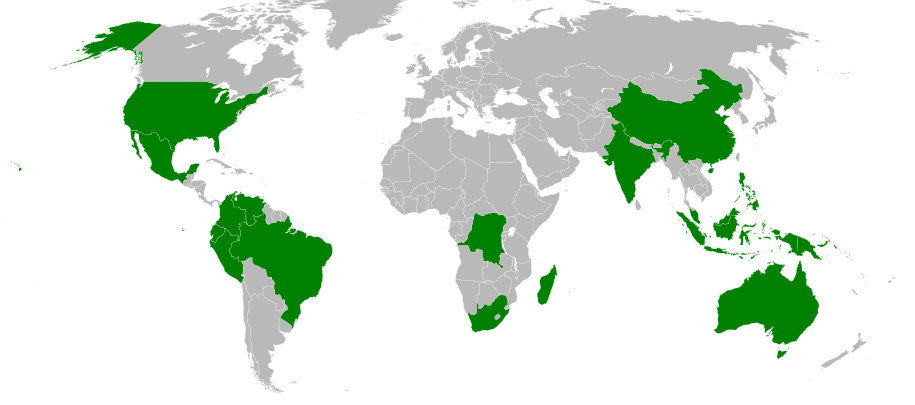 Map of megadiverse countries