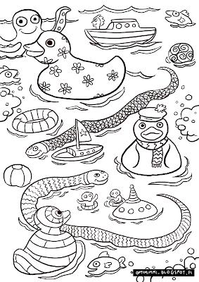 A coloring page of rubberducks, snakes and other toys in bath / Värityskuva kumiankoista, käärmeistä ja muista leluista kylpyammeessa