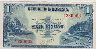 1 Rupiah Seri Pemandangan Alam 1953