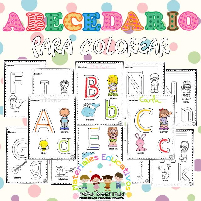 Fichas de Abecedario para Colorear | Materiales Educativos para Maestras