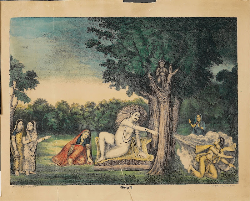 Shiva, Sitting on a Lion Skin with Parvati nearby, Incinerates Kama with his Third Eye, Late 19th Century Print, Bengal, India