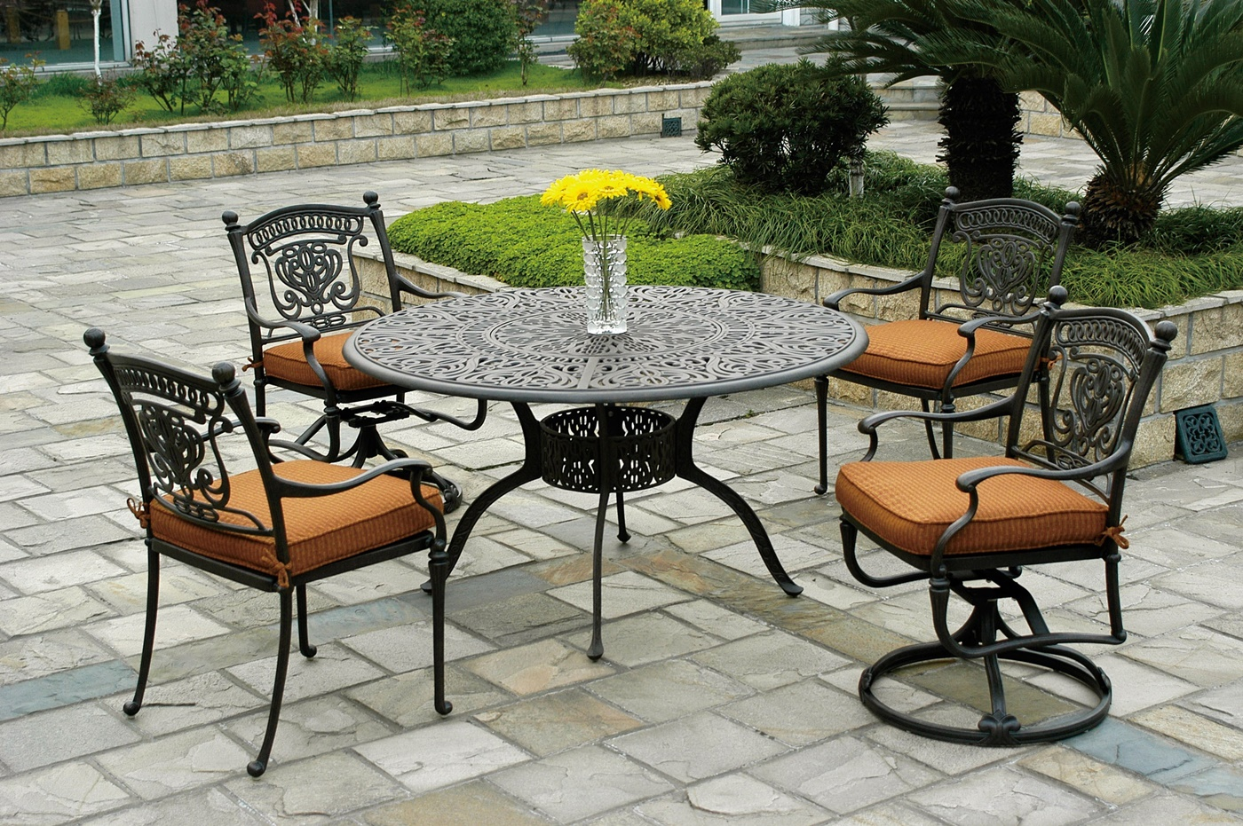 black wrought iron patio furniture. black wrought iron chairs with orange plush cushions and large round table patio furniture