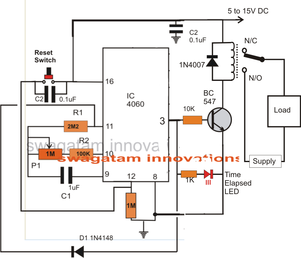 hight resolution of simple adjustable industrial timer circuit