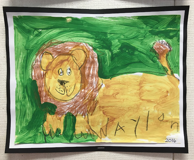 Mixed Media Lion- crayon and paint