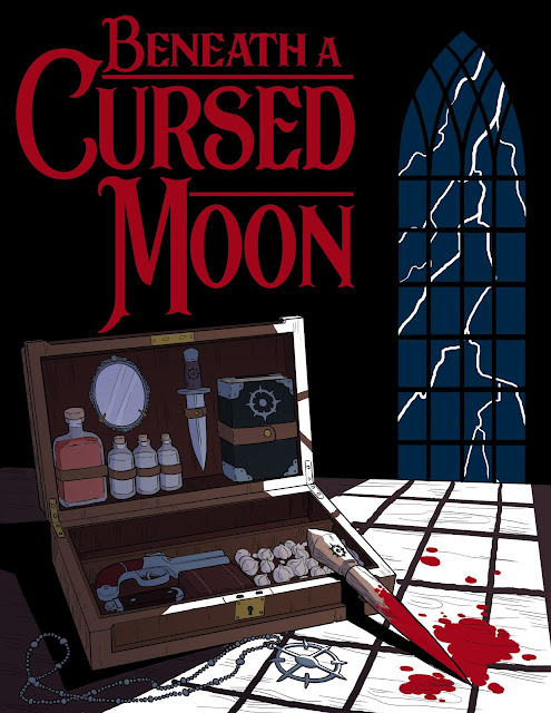 "The book cover for ""Beneath a Cursed Moon"" with a red serif font and a window, looking out to lightning striking, casting light over a vampire hunter kit with garlic and a gun, a necklace with a strange circular symbol, and a bloodied stake."