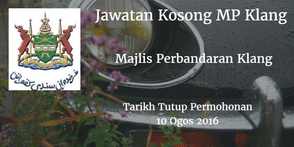 Jawatan Kosong MP Klang 10 Ogos 2016
