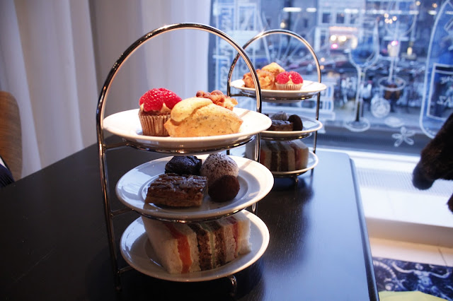 The afternoon tea service at Bluespoon restaurant, Amsterdam.