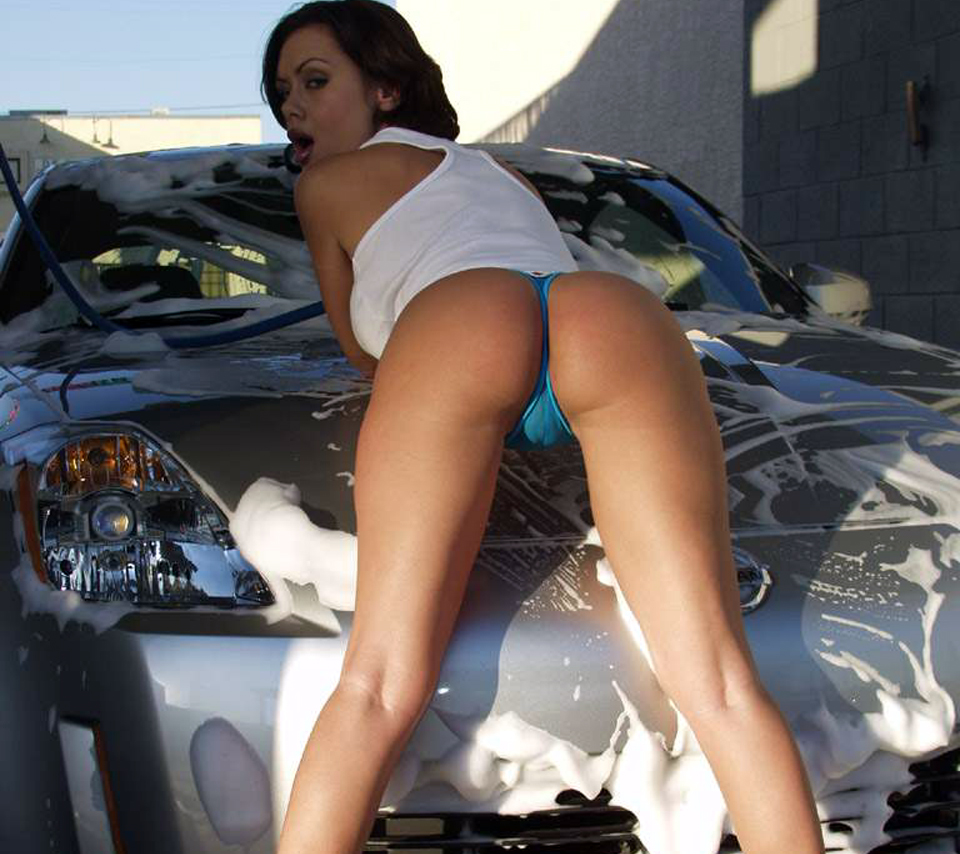 Girl car over naked photo bending