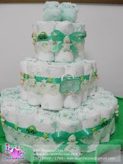 bolo de fralda verde