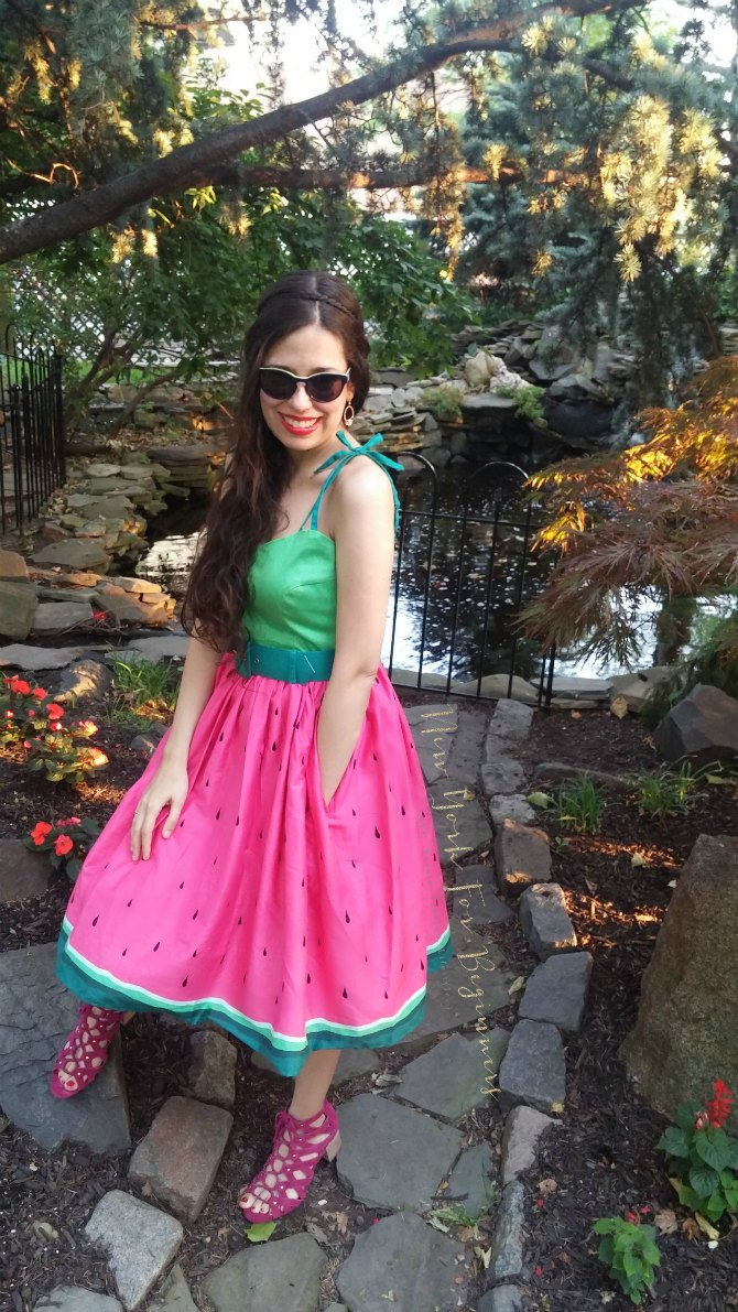 Rockability summer look with watermelon dress and Aerosoles Middle Ground sandals