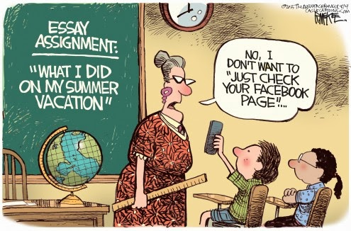 Funny joke cartoon - Essay assignment - what I did on my summer vacation - no, I don't want to just check your facebook page - image