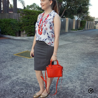 awayfromblue instagram | floral button up tank grey pencil skirt red necklace and bag summer office outfit