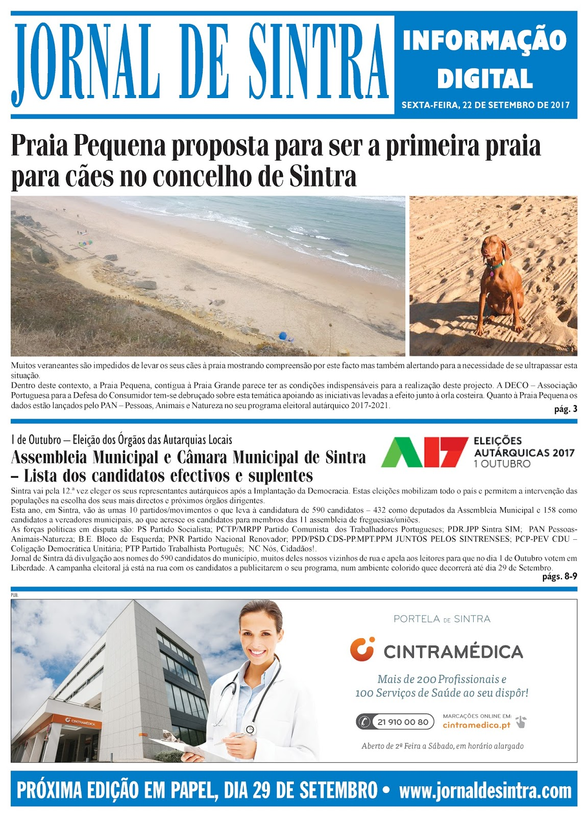 Capa da edição de 22-09-2017