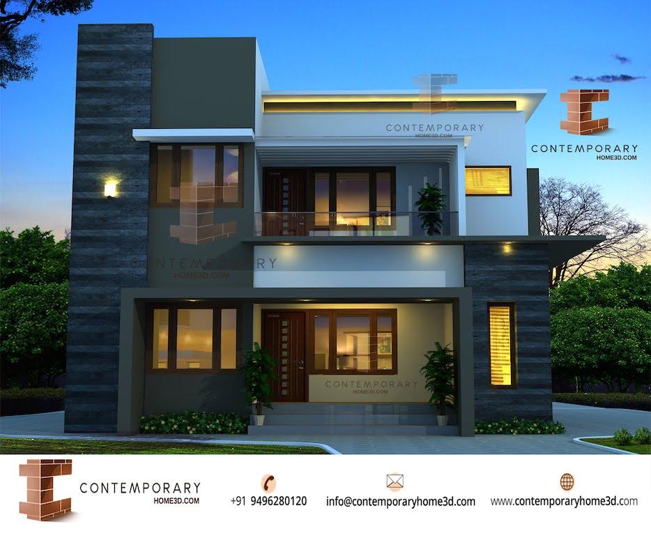 Contemporary Home 3D Design Of A 2462 Sqft 4 Bhk Indian Home Design