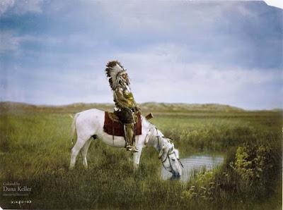 Redhawk de Oglala Sioux, 1905  foto retocada a color