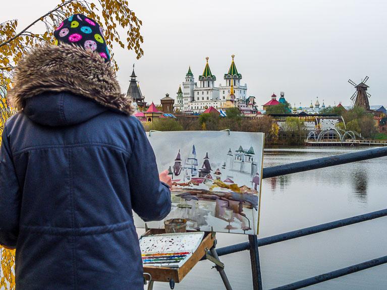 рисунок кистью измайловского кремля