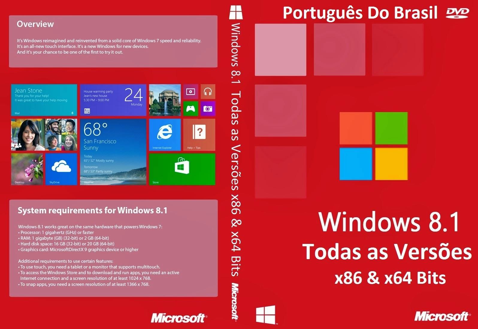 Windows 8.1 x86 e x64 Bits Todas as Versões DVD Capa