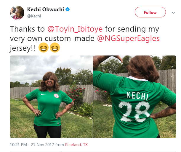Kechi Okwuchi Sosoliso Plain Crash Survivor Rocks Her Nigerian Super Eagle Jessy