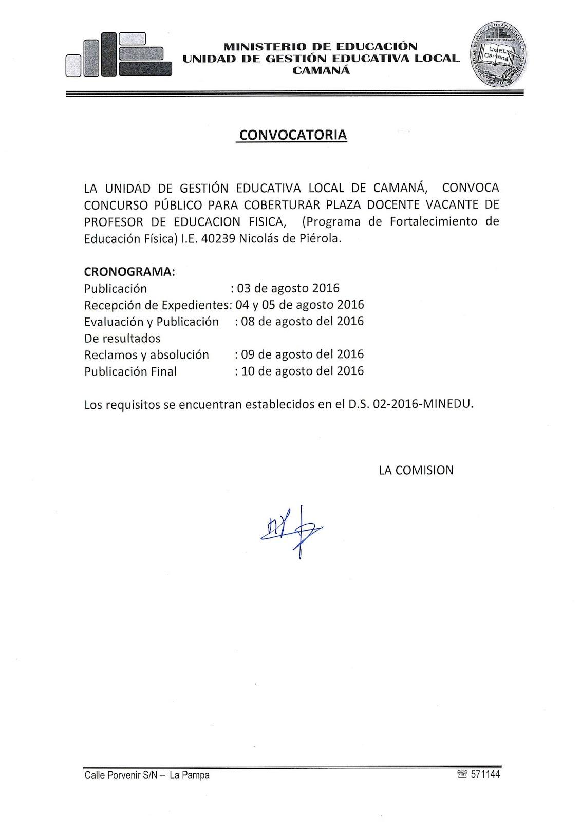 Convocatoria para profesor de educaci n f sica programa Convocatoria docentes 2016 ministerio de educacion