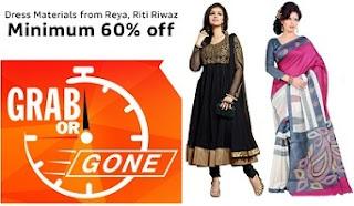 137dbb54309 Minimum 60% Off on Women's Dress Materials (Reya, Riti Riwaz) @ Flipkart