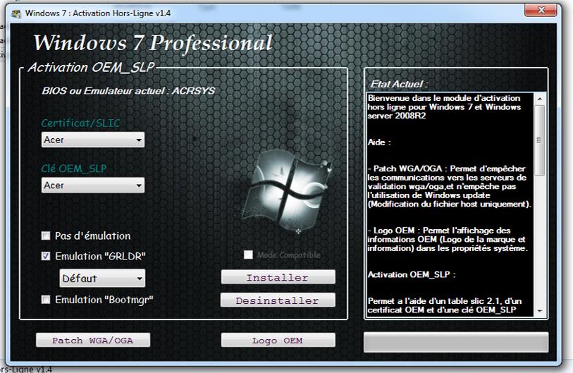 windows 7 activation hors ligne v1.4.4 version fr gratuit