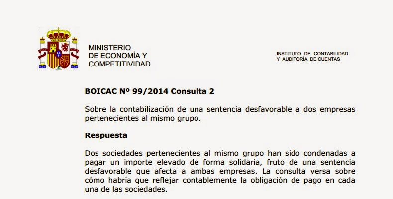 BOICAC 99 Consulta 2: Sentencia desfavorable que obliga a dos empresas del mismo grupo
