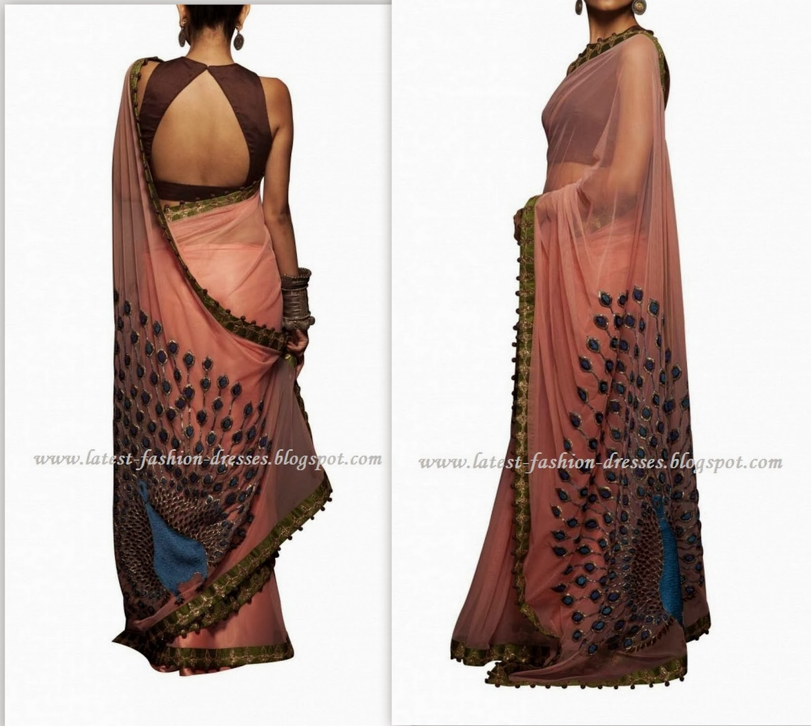 pink colour peacock style saree