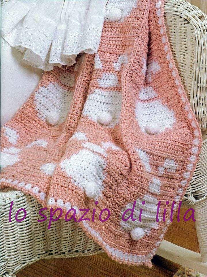 Lo Spazio Di Lilla Copertina Per Neonato All Uncinetto Con I