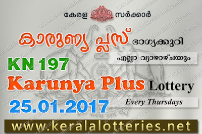 Kerala Lottery Results  25-Jan-2018 Karunya Plus KN-197 www.keralalotteries.net