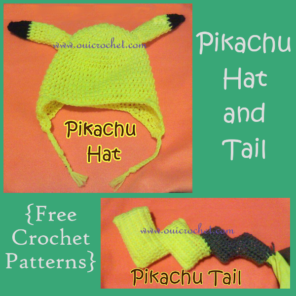 Crochet, Free Crochet Pattern, Crochet Hat, Pokemon, Pikachu, Crochet Pikachu Hat and Tail, Crochet Costume,