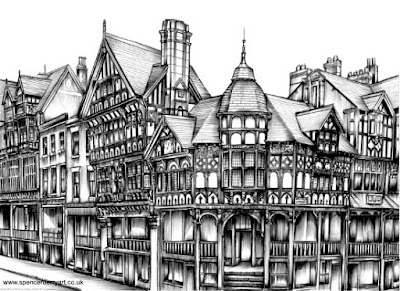 Hand Drawn Cityscape Ink Drawing  of The Rows in Chester, Cheshire, England by UK artist Spencer J. Derry