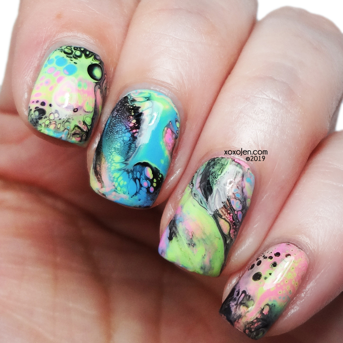 xoxoJen's swatch of Fluid Nail Art with KBShimmer Summer Neons