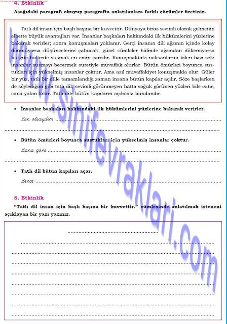 8. Sınıf Türkçe Dörtel Yayınları Çalışma Kitabı Cevapları Sayfa 13