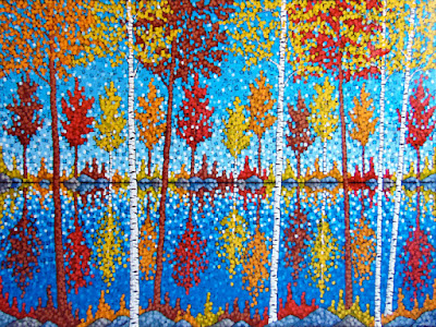 Autumn On The Lake painting by artist Aaron Kloss, Red Maple painting, fall painting, acrylic landscape painting, painting of minnesota in fall autumn, aaron kloss